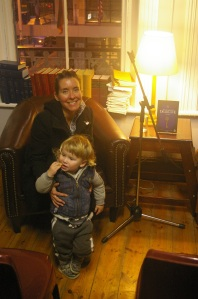 Alex with son Elias after her reading at Clarke's