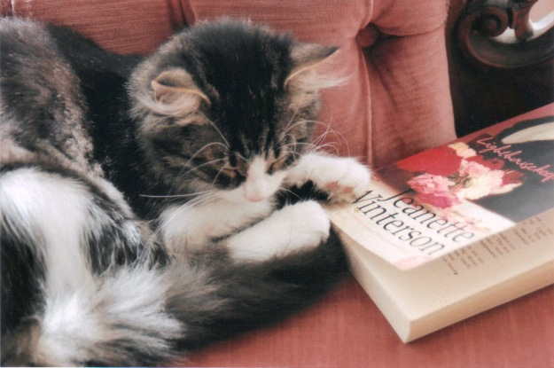 Anya with one of her favourite novels, Jeanette Winterson's Lighthousekeeping