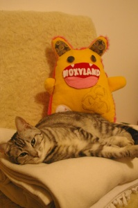 Glinka with Lauren Beukes's Moxyland toy