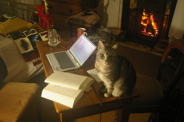 Glinka and I writing in winter close to the fireplace