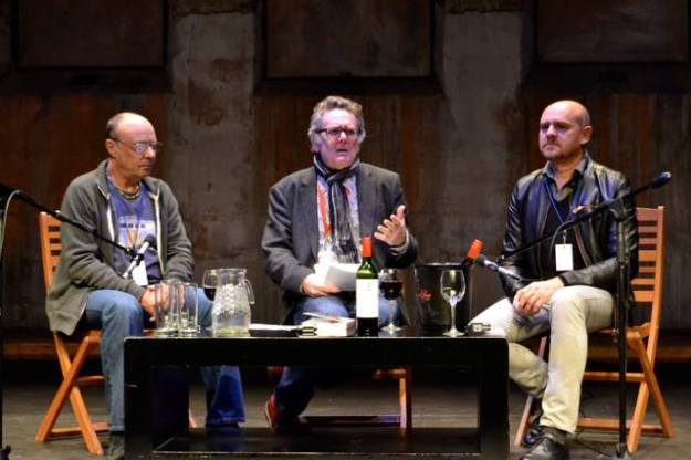 Craig Bartholomew Strydom and Stephen 'Sugar' Segerman with Andrew Donaldson at Open Book 2015 (Photo: Books Live)