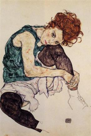 Seated woman with bent knee_Egon Schiele